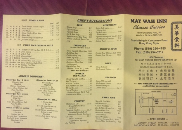 May Wah Inn Chinese Cuisine in Windsor