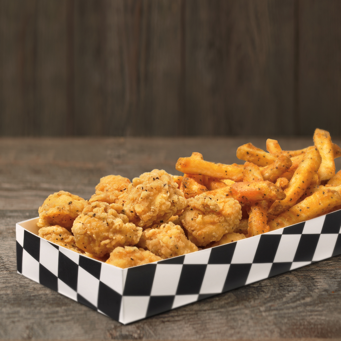 After the very first one of these habit-forming, crispy, juicy, perfectly seasoned, all white meat chicken bites, you'll be obsessing over them. Order them by the half pound, or get them in a box with our Famous Seasoned Fries.