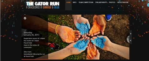 The Gator Run in Gainesville, FL.  Website design for the largest 5k color run at the University of Florida.