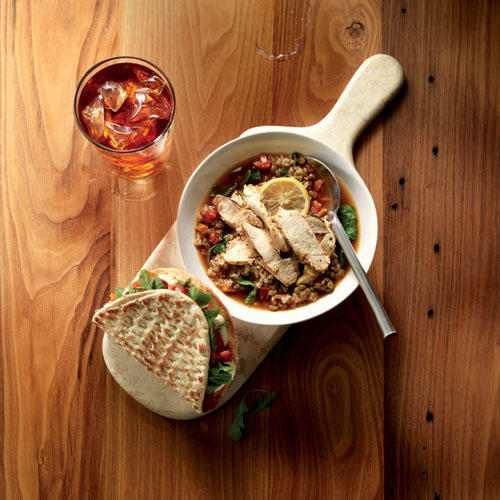 New Tomato Mozzarella Flatbread and Lentil Quinoa Bowl with Chicken, paired with New Mango Iced Tea