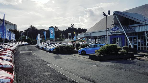 Facing the front of the Ford Kilbride dealership