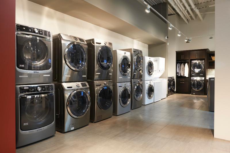Trail Appliances in Richmond: A sneak peek of the laundry section in Trail's showroom.