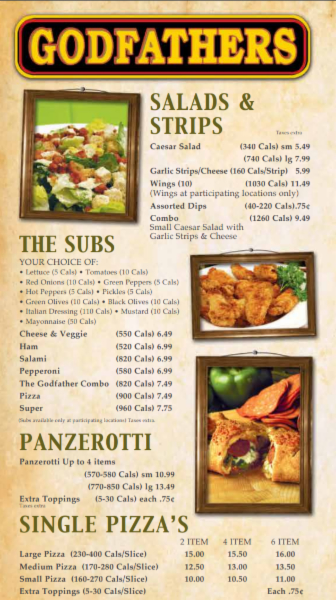 Godfathers Pizza - Delhi in Delhi: Godfathers Pizza Salads, Strips, Subs, Panzerotti