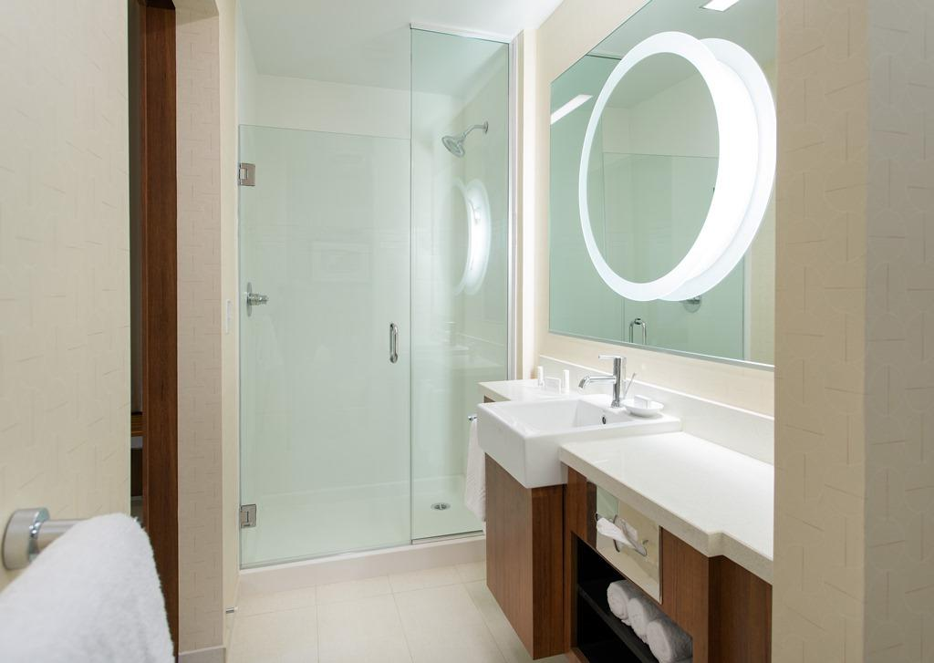 Guest Bathroom - Start the day off right in our spa-like, modern style bathrooms, complete with well-lit mirrors, chic sinks, large walk-in showers and plenty of vanity space.