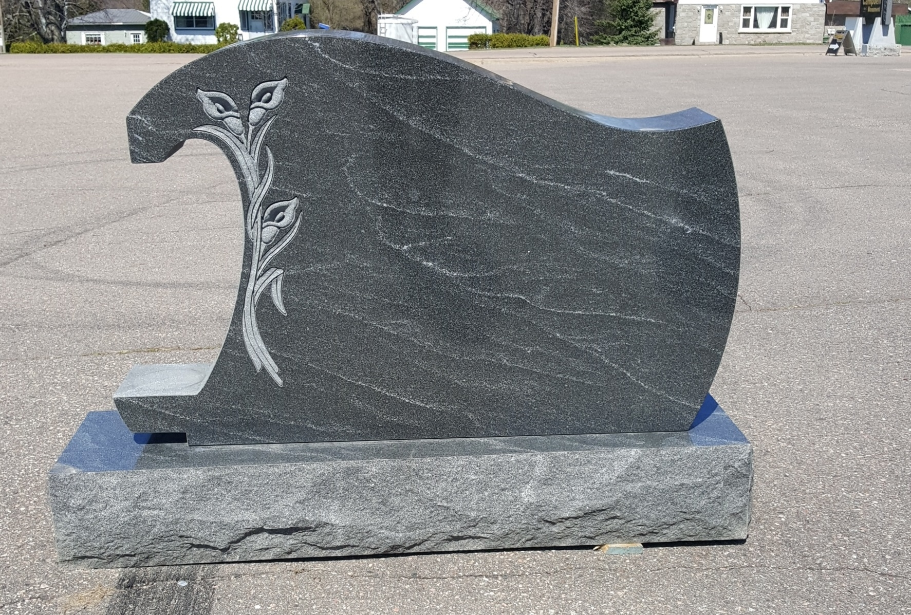 Campbell Monument in Pembroke: Waterfall monument crafted in Gem Mist.  Simply stunning.