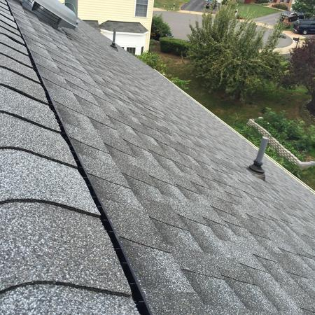 Close up view of newly installed roof.