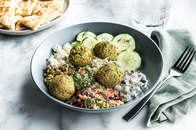 Mediterranean Salad Trio Bowl with Baked Falafel