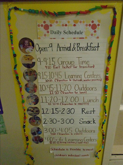The classroom schedule is displayed at the child's level with pictures so they can always tell what comes next.  Children love to have routines!