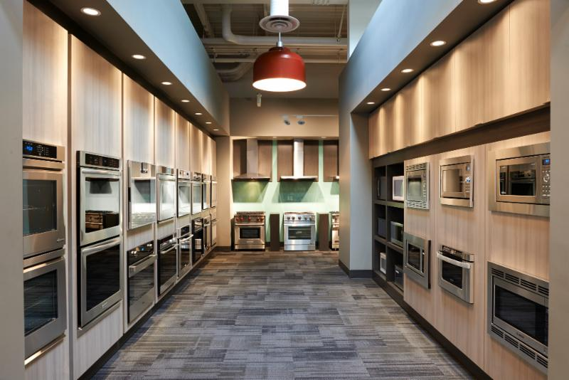 Trail Appliances in Richmond: Wall oven section in the showroom.