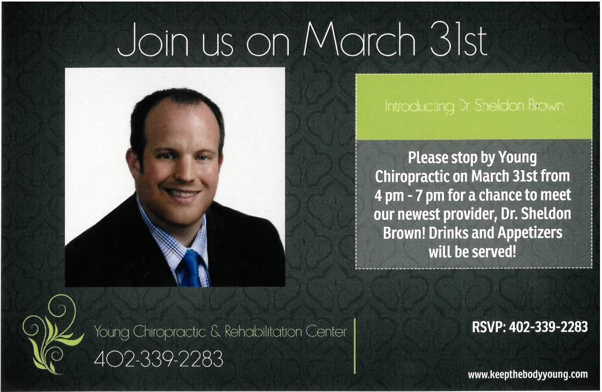 Don't forget to stop by on Thursday for drinks, appetizers and a chance to meet Dr. Brown and his family!