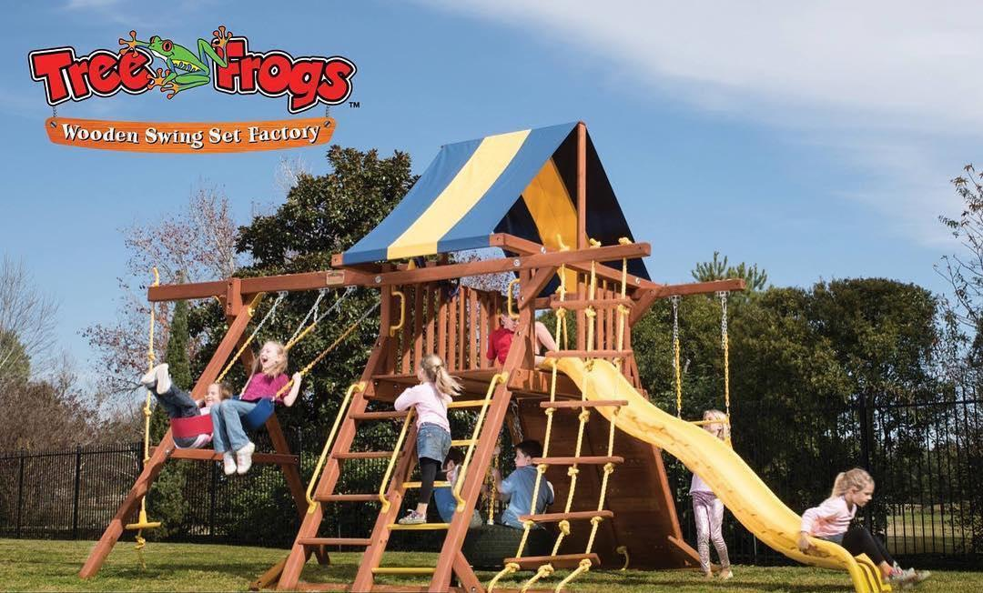 Tree Frogs wooden swing set Factory - Spring image 3