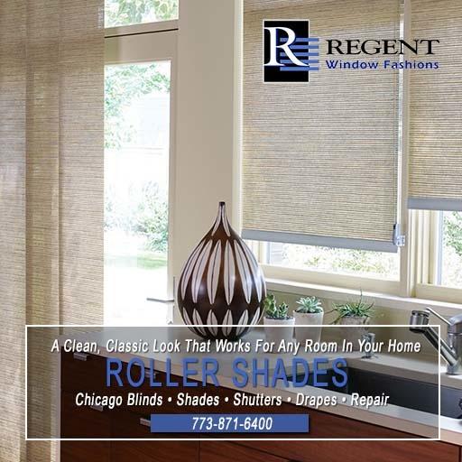 Roller window shades Chicago by Regent Window Fashions.