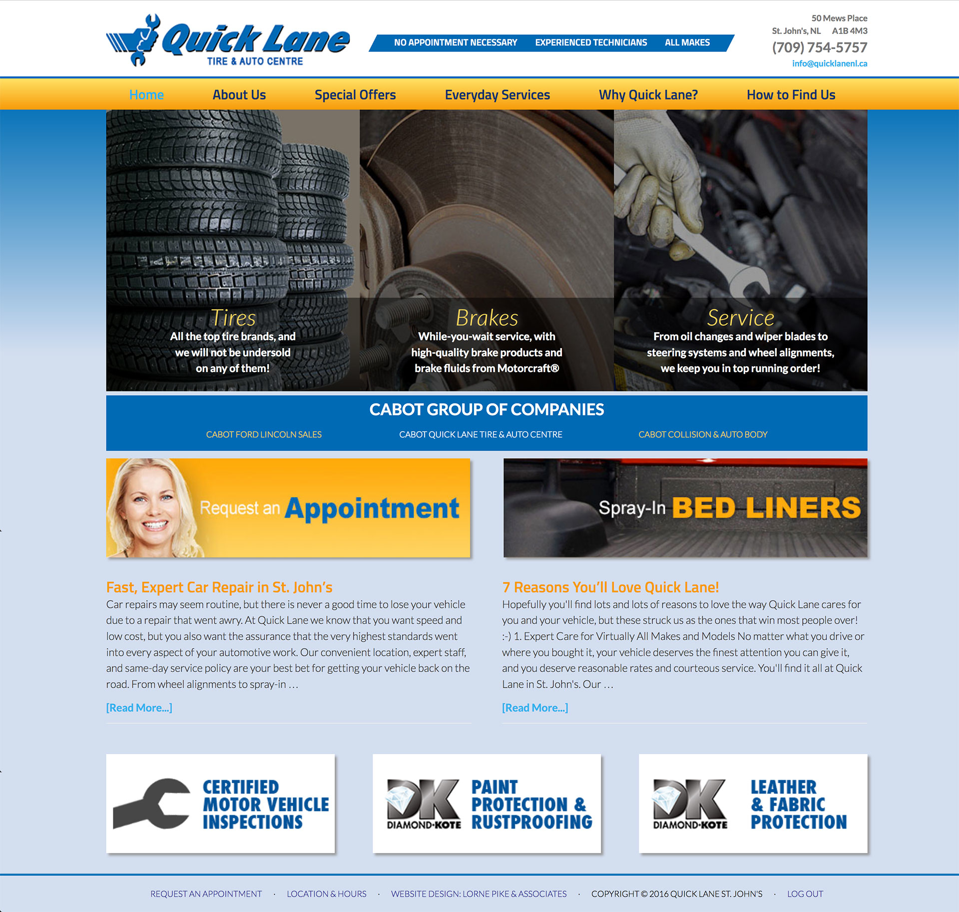 Lorne Pike & Associates in St. John's: This website design captures Quick Lane's broad range of services in St. John's, in a friendly site that reflected the brand's national style.