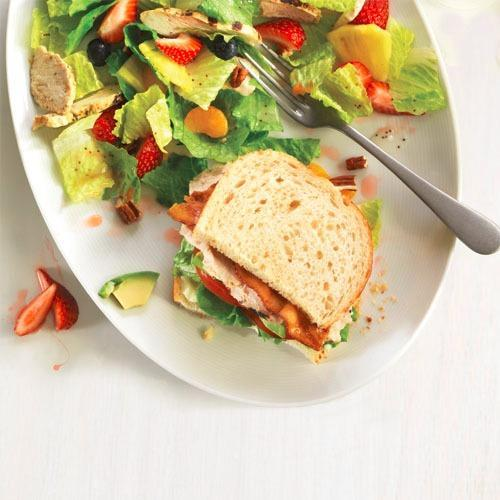 Enjoy the returning favorite Strawberry Poppyseed Salad with Chicken, paired with the Roasted Turkey & Avocado BLT.
