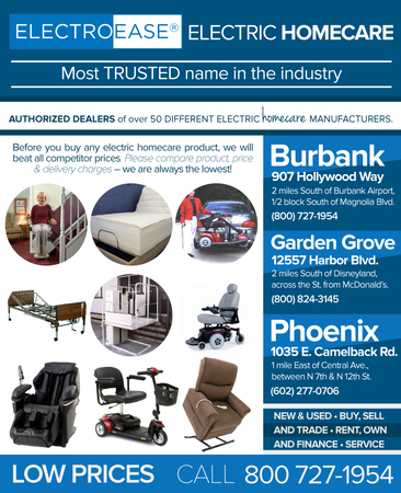 We feature the best selection of electric stairlifts adjustable beds, scooter lifts, hospital beds, wheelchair porch elevators, Pride Jazzy Powerchair wheelchairs, panasonic Massage Chair, Mobility Electric 3 and 4 Wheel Scooters and Golden Lift chair recliners