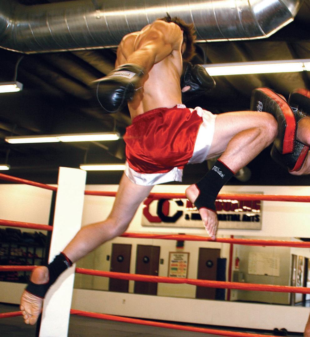 A muay thai flying knee