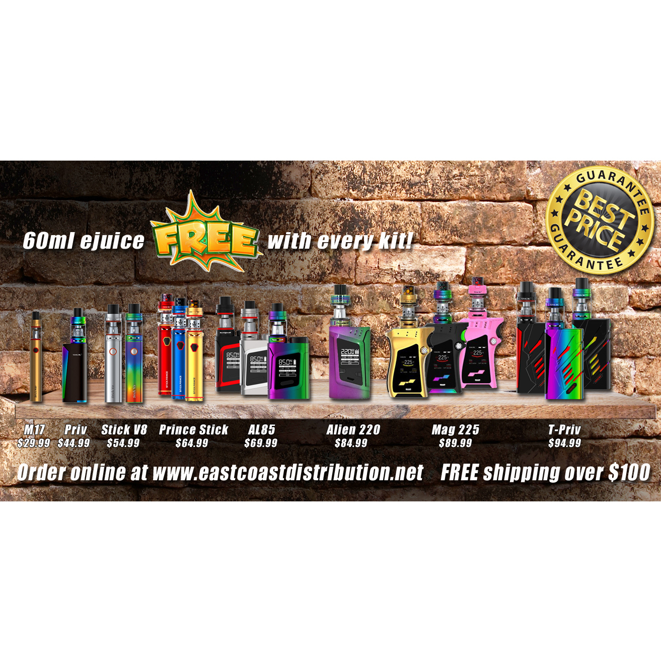 East Coast Distribution - VapeCity à St John's: Choose from a large variety of Vape kits from Smok. All kits come with a FREE 60ml eJuice your choice of brand and flavor.