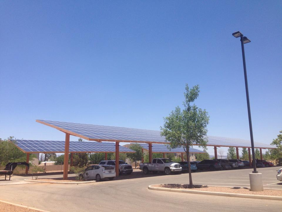 Recently completed 150kW solar shade canopy project recently completed by Solar Gain in Sierra Vista, AZ.