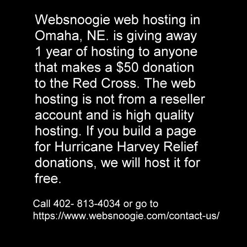 Free web hosting for Hurricane Harvey relief.