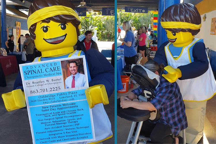 Lego Land's Max shows his gratitude to Advanced Spinal Care Chiropractic Medspa for their support of Lego Land's Corporate Wellness and Health Fair.