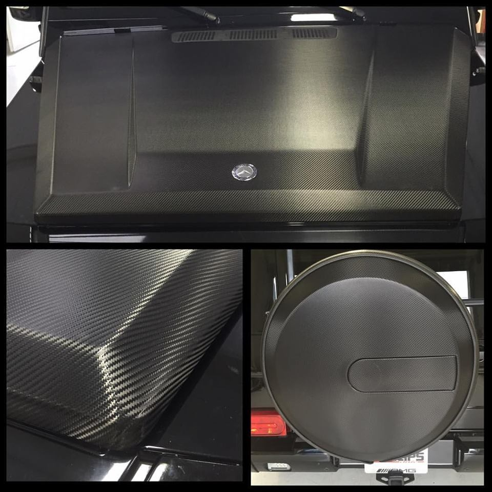 Hood & Spare Tire Cover Wrap in Carbon Fiber