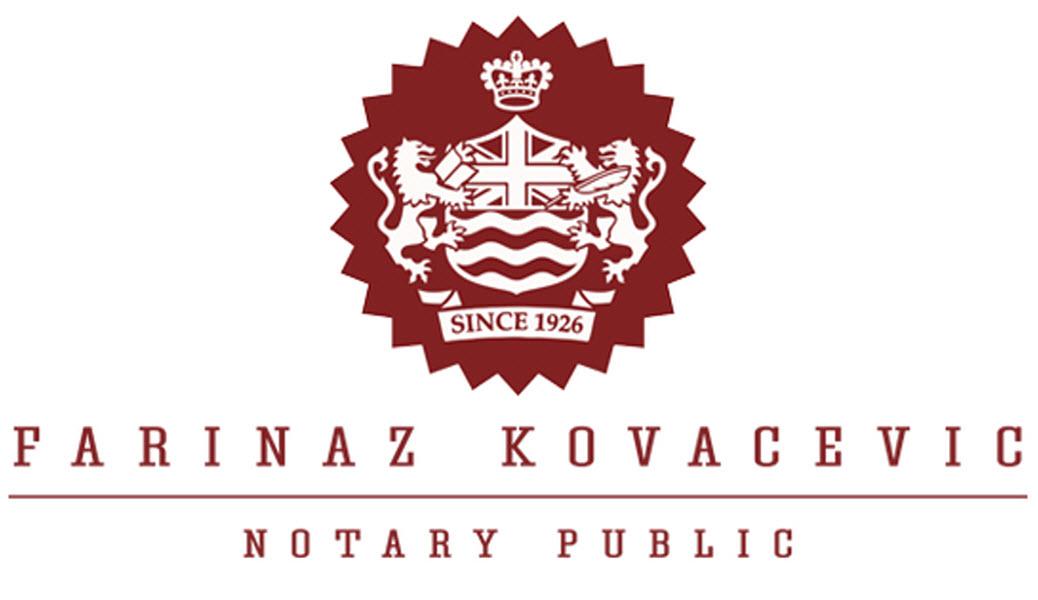 Farinaz Kovacevic, Notary Public