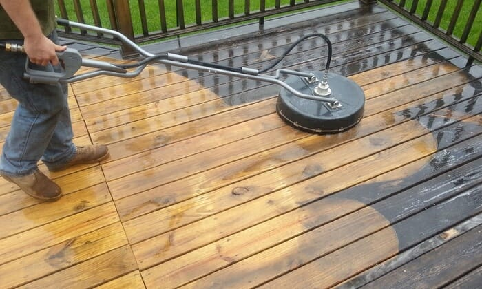 Pressure washing makes this deck like new