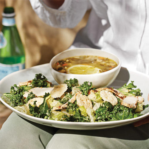 New Power Kale Caesar Salad with Chicken, paired with Lemon Chicken Orzo Soup.