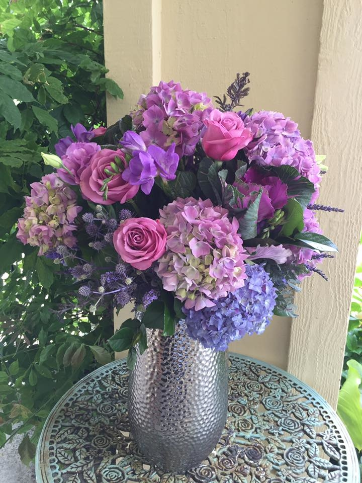 Florentyna's A Fine Flower Company- Purple Hydrangeas and Roses Arrangement