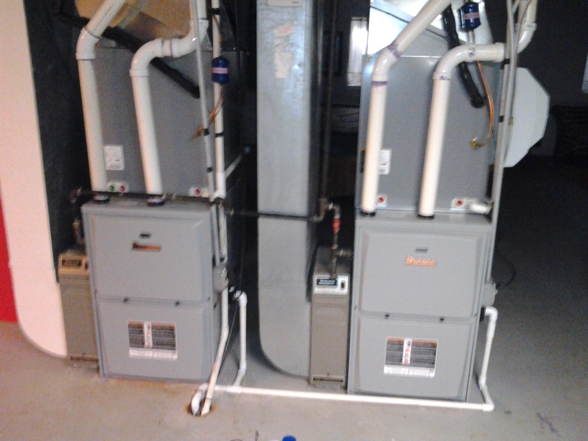 Installation of dual 90% furnace in a residential application, along with humidifiers and air cleaners