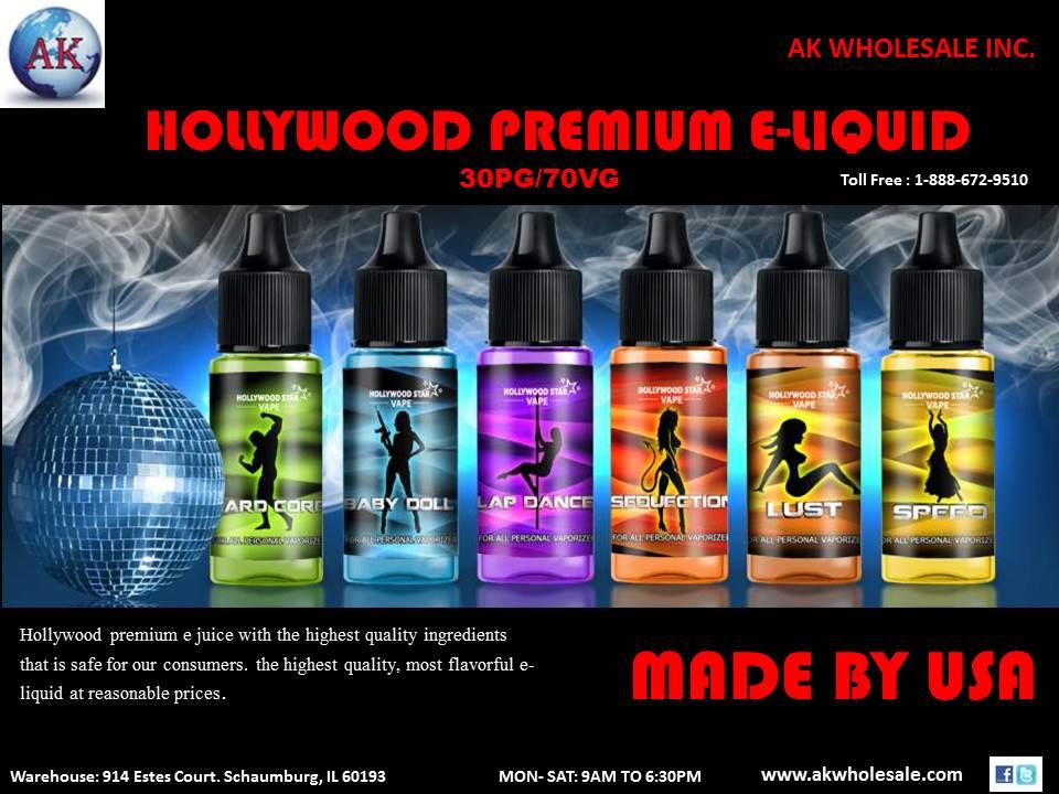 Hollywood Premium E-Liquid 30pg/70vg  www.akwholesale.com Toll Free:-1-888-672-9510