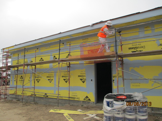 Exterior Walls Treated In Preparation For The Air Moisture Barrier Ft Irwin