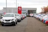 Cars for sale outside the Vauxhall Edinburgh dealership