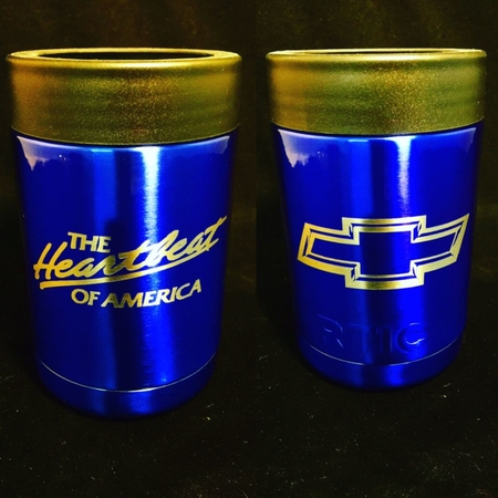 Who's a Chevy Fan? Can Holder Tumblers. Custom Engraved and Powder Coated Illusion Blue
