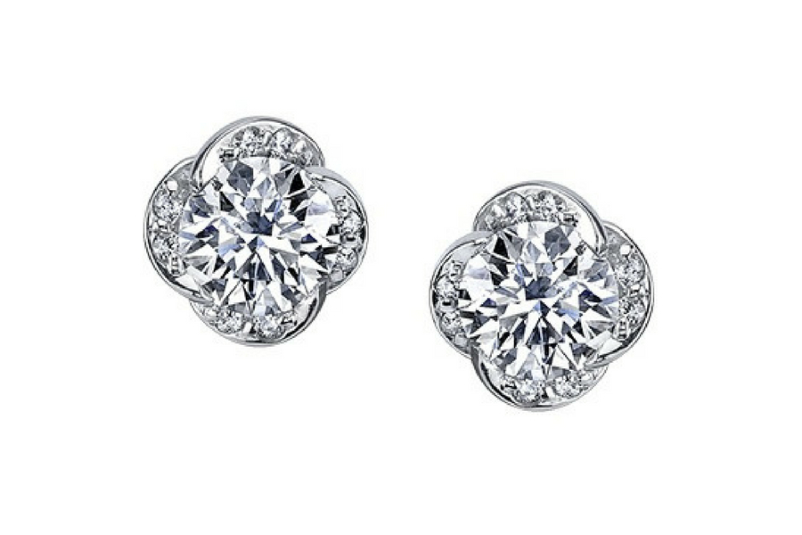 A & A Jewellery in Estevan: Maple Leaf Canadian Diamond Earrings from the Elements of Love, Winds Embrace Collection