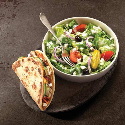 Mediterranean Chicken Flatbread Sandwich and Greek Salad