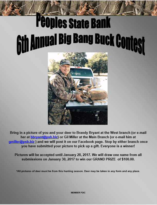 6th Annual Big Bank Buck Contest