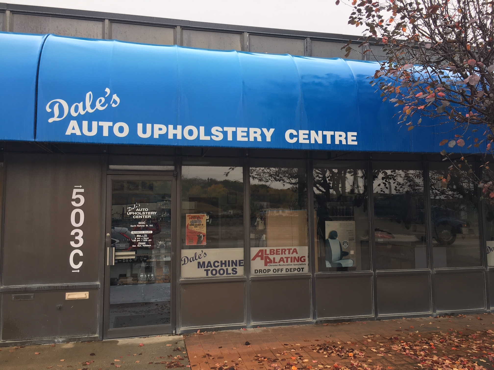 Dale's Auto Upholstery Centre in Medicine Hat: Front of Dale's Auto Upholstery Centre from street