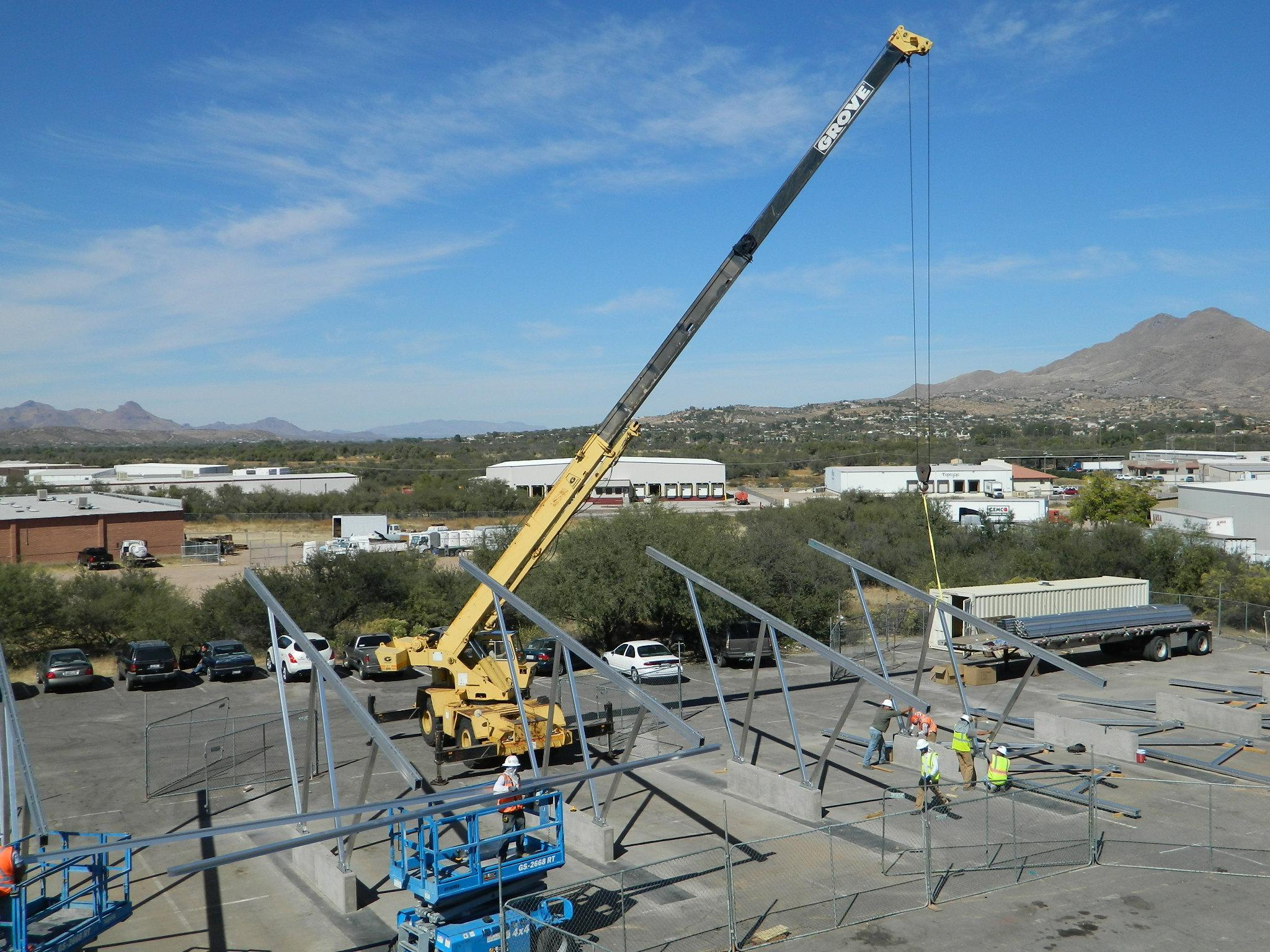 87kW Canopy project under construction in Rio Rico, Arizona for Charles E. GIllman Company.  Completed in 2012.