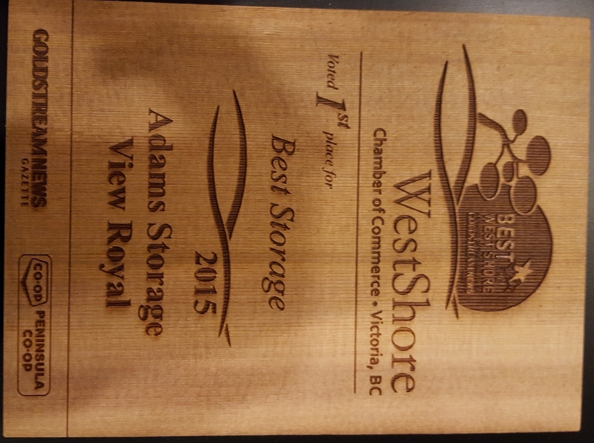 Adams Storage Langford in Victoria: 2015 Best Storage Award from WestShore Chamber of Commerce