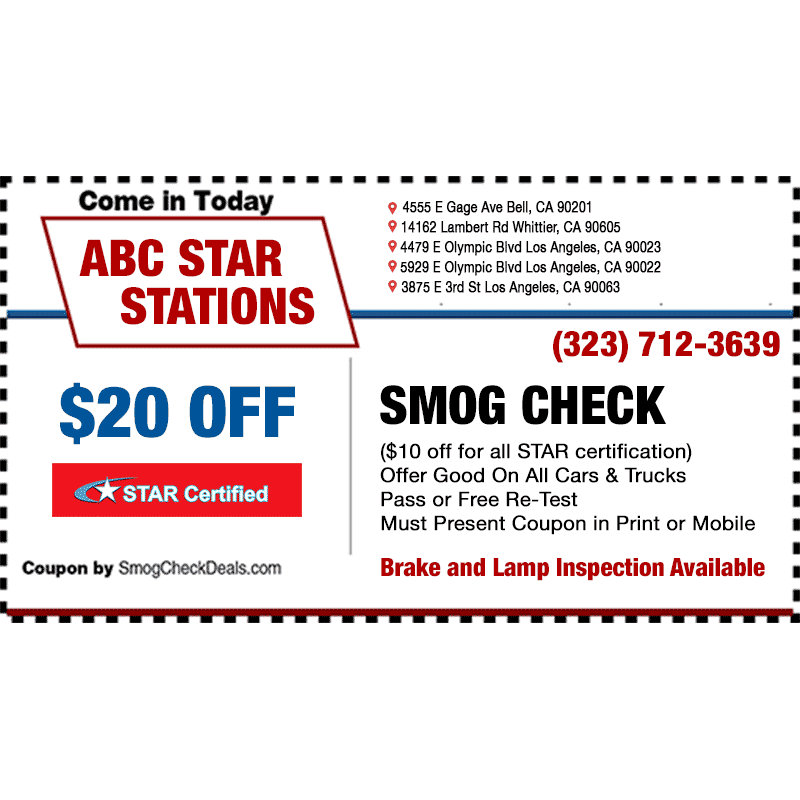 Abc Smog Check Star Station 4555 East Gage Avenue Bell Ca