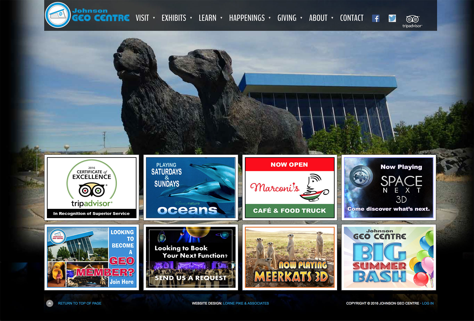 Lorne Pike & Associates in St. John's: Working with the Johnson GEO CENTRE, one of Canada's leading museums, since before they even opened, we have handled their marketing strategy, brochure design, and website design, which allows online ticket sales and rental bookings.