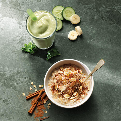 New Power Almond Quinoa Oatmeal and Low-Fat B-Green Power Smoothie