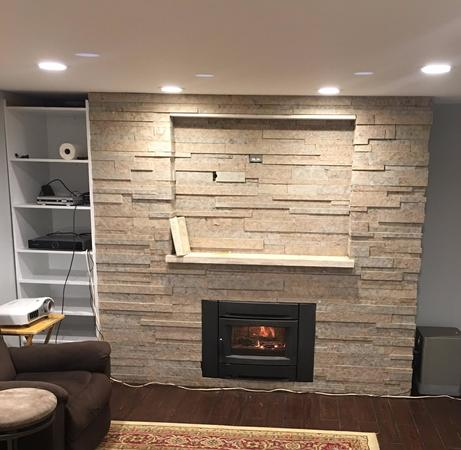 Interior stone work and fireplace.