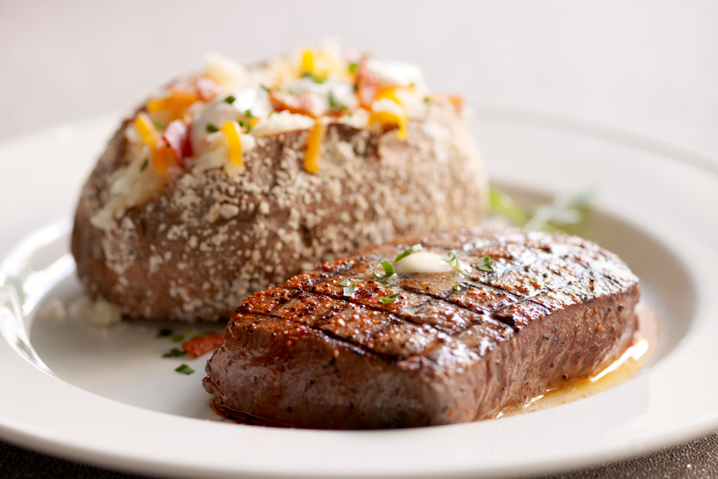 Sirloin and Salt Crusted Baked Potato