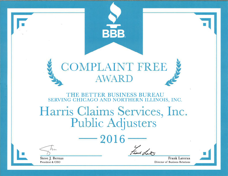 Harris Claims Services Better Business Bureau Complaint Free Award Again