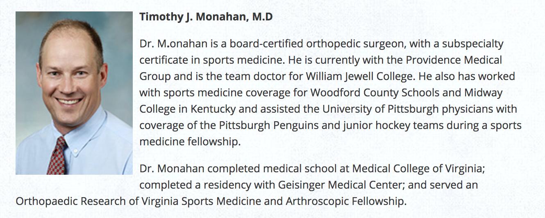 Timothy J. Monahan, M.D. - Orthopedic Surgeon