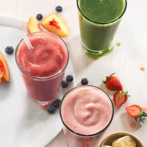 Sip the new Peach and Blueberry Smoothie, or enjoy the Green Passion Power Smoothie or Strawberry Banana Smoothie.