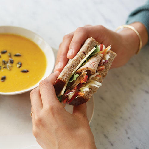 Try the new Roasted Turkey, Apple & Cheddar Sandwich on Cranberry Walnut Miche paired with Vegetarian Autumn Squash Soup.