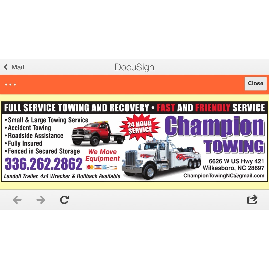 Champion Towing & Recovery - Wilkesboro, NC - Auto Towing & Wrecking